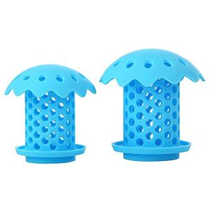 """Upgrade Bathtub Sink Drain Hair Catcher Protector Strainer, Durable Silicone Bath Tub Hair Strainer Protector for Bathroom, Kitchen, Shower Room, Snare Sizes 1.5"""" and 1.75"""" 2 back (blue)"""