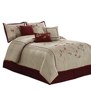 "Chezmoi Collection Miki Luxury 7-Piece Red Cherry Blossoms Floral Embroidery Bedding Comforter Set (Full, 86"" x 88"") B06XDBSXC7"