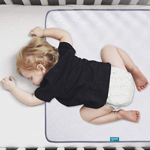 "Waterproof Protector 27"" x 38"", Non-Slip & Durable Wateproof Pad Mat for Baby Pack n Play/Crib/Mini Crib, Ultra Soft Reusable Lifesaver for Toddler Kid Bed As Sheet Protector, White"