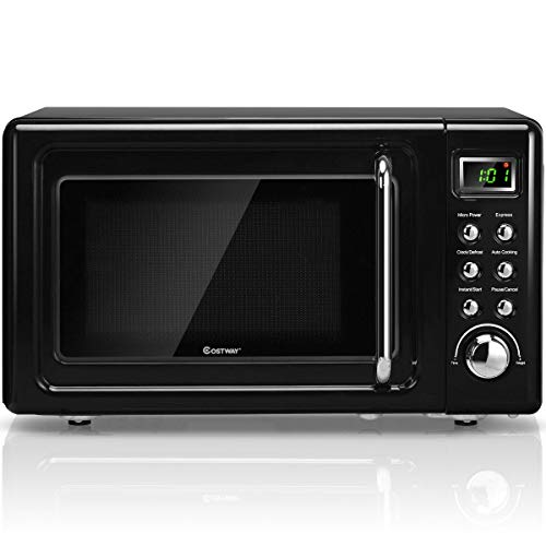 ARLIME Retro Countertop Microwave Oven, 0.7 Cu. Ft, 700W, LED Display, Child Safety Lock, Stainless Steel (Black)