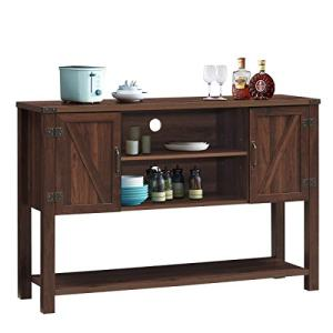 Tangkula Console Table Buffet Table, Modern Sideboard with Storage Cabinets and Bottom Shelf, Contemporary Tall Buffet Storage Cabinet, Kitchen Dining Room Furniture (Brown)