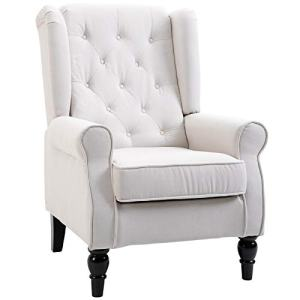 HOMCOM Fabric Tufted Club Accent Chair with Wooden Legs, Cream White