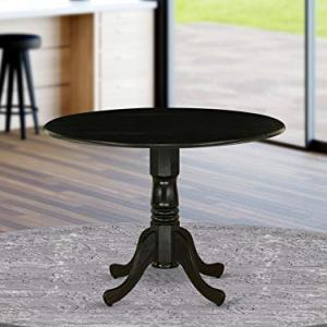 East West Furniture DLT-ABK-TP Dublin Table-Black Table Top Surface and Black Finish Pedestal Legs Hardwood Frame Round Wooden Dining Table