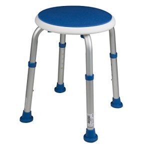 PCP Padded Round Non-Slip Bath Safety Stool, White/Blue
