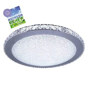 iLett 18 Watts Modern Minimalist K9 Crystal Tears Round LED Ceiling Light, Russian Style, 14 in, 6000K (Cool White), Compact, Multi-Voltage (85V-265V)