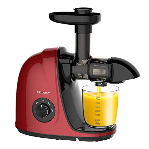 Juicer Machine, Picberm PB2110G Slow Masticating Juicer for Nutrients Preservation, Easy to Clean, Quiet Motor, Cold Press Juicer with Brush, Recipes for Fruits and Vegetables (Red)