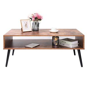 IWELL Mid-Century Coffee Table with Storage Shelf for Living Room, Mid-Century Style Cocktail Table, TV Table, Rectangular Sofa Table, Office Table, Solid Elegant Functional Table, CFZ003F