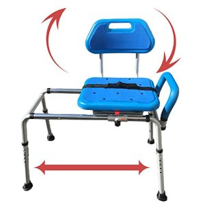 Gateway Premium Sliding Bath Transfer Bench with Swivel Seat-Padded (Blue)