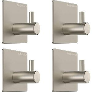 The Chestnut Wall Hooks Adhesive for Hanging Towels - Set of 4 - Premium Adhesive Hooks Heavy Duty - Towel Hooks for Bathrooms - Robe Hook Brushed Nickel - Sticky Hanging Wall Hangers Without Nails