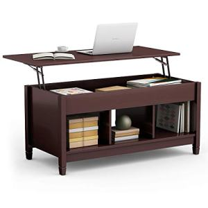 TANGKULA Coffee Table Lift Top Wood Home Living Room Modern Lift Top Storage Coffee Table w/Hidden Compartment Lift Tabletop Furniture (Brown)