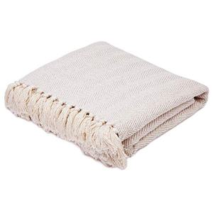 "Americanflat Zaina Throw Blanket in Cream Herringbone - 100% Cotton with Fringe - 50"" x 60"""