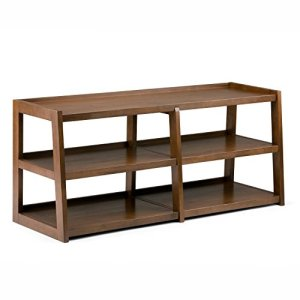 Simpli Home Sawhorse SOLID WOOD Universal TV Media Stand, 60 inch Wide, Modern Industrial, Living Room Entertainment Center with Shelves, for Flat Screen TVs up to 70 inches Medium Saddle Brown