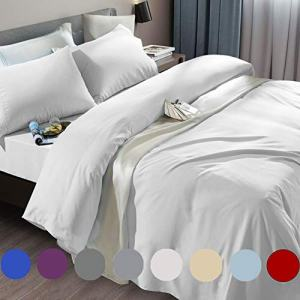 SONORO KATE Bed Sheet Set Super Soft Microfiber 1800 Thread Count Luxury Egyptian Sheets Fit 18-24 Inch Deep Pocket Mattress Wrinkle and Hypoallergenic-6 Piece (White, Queen)
