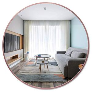 PexFix 36'' Wall Round Mirror, Contemporary Aluminum Alloy Frame Beveled Accent Wall-Mounted Decorative Mirror for Bedroom, Vanity Washrooms, Living Room & Entryway (Rose Gold)