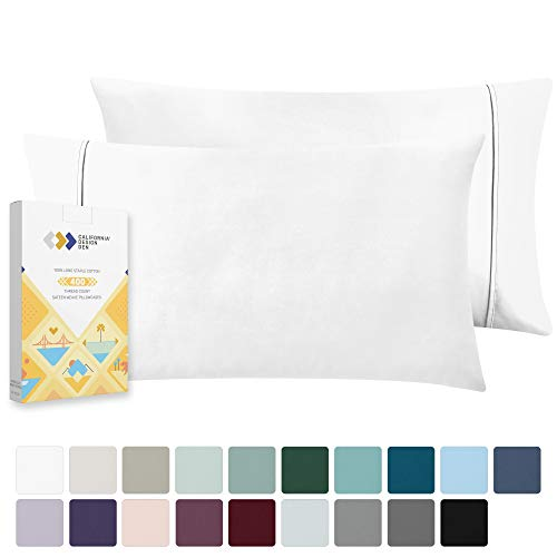 400 Thread Count 100% Cotton Pillow Cases, Pure White Standard Pillowcase Set of 2, Long-Staple Combed Pure Natural Cotton Pillows for Sleeping, Soft & Silky Sateen Weave Bed Pillow Covers