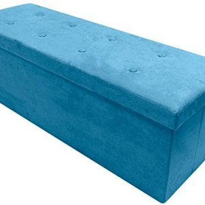 Sorbus Storage Ottoman Bench – Collapsible/Folding Bench Chest with Cover – Perfect Toy and Shoe Chest, Hope Chest, Pouffe Ottoman, Seat, Foot Rest, – Contemporary Faux Suede (Large-Bench, Teal)