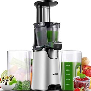 Slow Masticating Juicer, Aicok Cold Press Juicer Machine, Quiet Motor and Reverse Function, Easy to Clean, BPA-Free, with Brush and 3 Strainers for Fruits and Vegetables