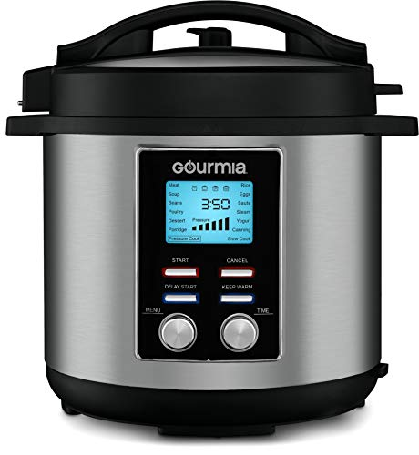 Gourmia GPC855 8 Qt Digital SmartPot Multi-Function Pressure Cooker - 15 Cook Modes - Removable Nonstick Pot - 24-Hour Delay Timer - Automatic Keep Warm - LCD Display - Pressure Sensor Lid Lock