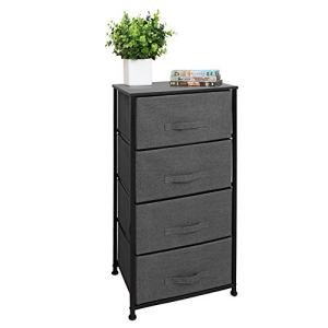 East Loft Tall 4 Drawer Dresser Storage Organizer for Closet, Nursery, Bathroom, Laundry or Bedroom Fabric Drawers, Solid Wood Top, Durable Steel Frame Charcoal