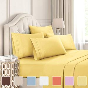 King Size Sheet Set - 6 Piece Set - Hotel Luxury Bed Sheets - Extra Soft - Deep Pockets - Easy Fit - Breathable & Cooling Sheets - Wrinkle Free - Comfy - Yellow Bed Sheets - Kings Sheets - 6 PC