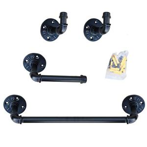 Industrial Pipe Bathroom Hardware Fixture Set Heavy Duty DIY Wall Mount Accessories Kit Includes Robe Hook,18 Inch Towel Bar and Toilet Paper Holder,Coated Finish