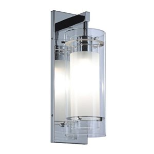 Wall Sconce 1 Light Wall Mount Light with Clear and Frost Glass Contemporary Chrome Bathroom Vanity Wall Light XiNBEi-Lighting XB-W1159-CH