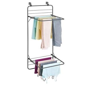 mDesign Over Door Foldable Laundry Drying Rack - Compact, Portable, and Collapsible for Storage - Double Shelf - Graphite Gray