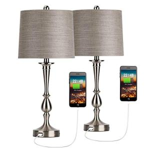 Oneach USB Table Lamp Set of 2 Modern Bedside Desk Lamp with USB Port for Living Room Bedroom Coffee Table Nickle Finish