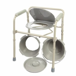 HEALTHLINE Commode Chair, Folding Bedside Commode Chair, Deluxe Bedside and Bathroom Steel Medical 3 in 1 Commode Over Toilet Seat with Commode Bucket, Splash Guard and Arms, Gray