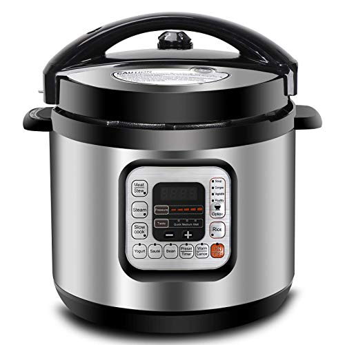 ZENY 1000W 6 Qt 10-in-1 Multi-Use Programmable Electric Pressure Cooker, Slow Cooker, Rice Cooker, Sauté, Yogurt Maker, Bean Maker, Steamer and Keep Warm Rice Cooker
