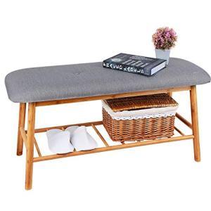 Shoe Rack Bench Ottoman Upholstered - Grey Padded Cushion Bamboo Storage Seat Shelf Free Standing Entryway Hallway Bedroom Living Room