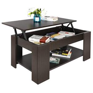 SUPER DEAL Lift Top Coffee Table w/Hidden Compartment and Storage Shelves Pop-Up Storage Cocktail Table