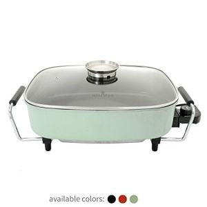 Paula Deen 15-inch (1400 Watt) Large Electric Skillet with Glass, Basting Lid; Easily Saute, Sear, Cook Casseroles, Brown Meats, Simple Temperature Dial with Keep Warm Feature, Wipe Clean Ceramic Coating (Mint)