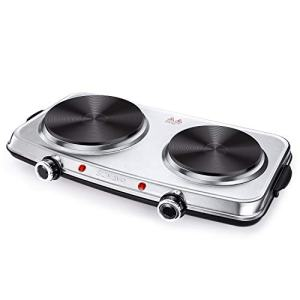 SUNAVO Hot Plates for Cooking, 1800W Electric Double Burner with Handles, 6 Power Levels Stainless Steel Hot Plate for Kitchen Camping RV Cast Iron