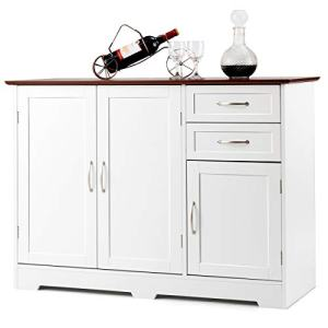 Giantex Buffet Server Sideboard Storage Cabinet Console Table Tableware Organizer Kitchen Dining Room Furniture, Entryway Cupboard with 2-Door Cabinet and 2 Drawers (White & Vermilion)