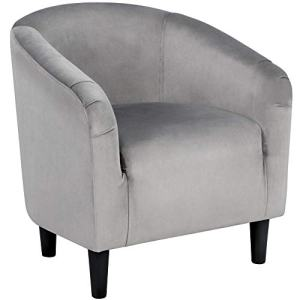 YAHEETECH Velvet Arm Chair Home Modern Club Chair Accent Chair Upholstered Barrel Chair Gray