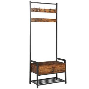 HOOBRO Coat Rack with Storage Cabinet, Hall Tree Entryway Organizer Storage Bench, Free Standing Wood Accent with Metal Hooks and Frame, Easy Assembly, Industrial Design, Rustic Brown BF06MT01