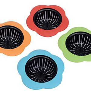"Silicone Kitchen Sink Strainer 4 Pack, Pouring strainers,Drain FilterLarge Wide Rim 4.5"" Diameter (4.5"" Diameter, 4 Color)"