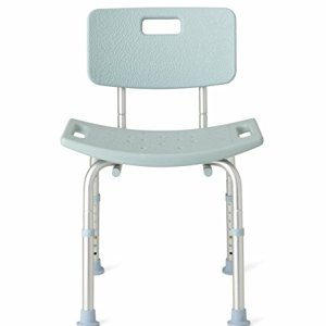 Medline Shower Chair Bath Bench with Back, Supports up to 300 lb, Infused with Microban Antimicrobial Protection, Light Blue