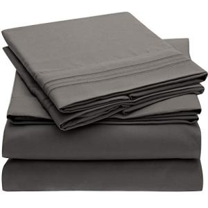 Mellanni Bed Sheet Set - Brushed Microfiber 1800 Bedding - Wrinkle, Fade, Stain Resistant - Hypoallergenic - 4 Piece (King, Gray)