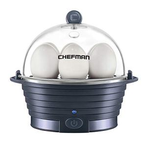 Chefman Electric Egg Cooker Boiler, Rapid Egg-Maker & Poacher, Food & Vegetable Steamer, Quickly Makes 6 Eggs, Hard, Medium or Soft Boiled, Poaching/Omelet Tray Included, BPA-Free, Midnight Blue
