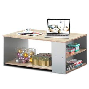 Giantex Coffee Table W/Three Storage Shelf, Sturdy and Durable Construction, Smooth Surface & Extra Storage Space, Ideal for Office and Living Room Tea Snack Table (Natural)