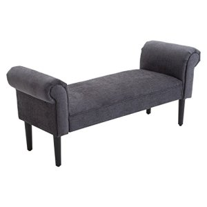 """HOMCOM 52"""" Linen Upholstered Accent Ottoman Bench with Armrests, Dark Grey"""