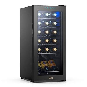 WIE 18 Bottle Wine Refrigerator Compressor System, Red and White Wine Fridge Freestanding Refrigerator Cellar Digital Temperature Display Auto-Defrost Compression 41°-64°F/5°C-18°CWine Aerator Pourer
