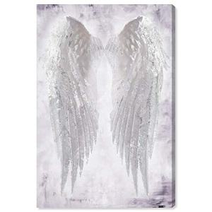 "The Oliver Gal Artist Co. Fashion and Glam Wall Art Canvas Prints 'Wings of Angel Amethyst' Home Décor, 16"" x 24"", White, White"