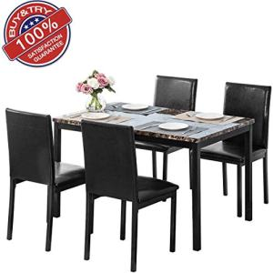DKLGG 5-Piece Kitchen Table Set, 4 Chairs Home Furniture Dinette Set, Ideal for Family Gathering and Evening, Kitchen, (Leather/Wood/Metal) (Black)