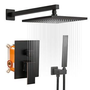 BWE 10 Inch Square Bathroom Luxury Rain Mixer Shower Combo Set Wall Mounted Rainfall Shower Head System Oil Rubbed Bronze Shower Faucet Rough-in Valve Body and Trim Included