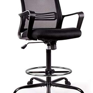 Drafting Chair Tall Office Chair for Standing Desk Drafting Mesh Table Chair with Foot Ring (Dark Black)