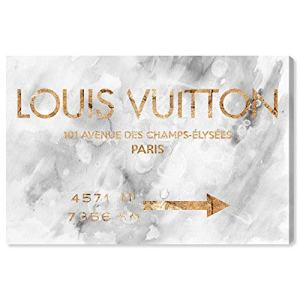 "The Oliver Gal Artist Co. Fashion and Glam Wall Art Canvas Prints 'Parisian Road Sign' Home Décor, 24"" x 16"", Gray, Gold"