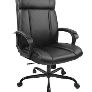 SMUGDESK PU Leather Ergonomic Desk Adjustable Task High-Back Executive Swivel Computer Chair with Armrests Headrest and Lumbar Support for Office Conference Home, Black